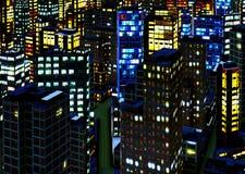 District des affaires la nuit image libre de droits