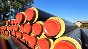 District heating insulated pipes. Pre -insulated steels pipes for district heating, in Milan Italy Stock Photos