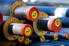 District heating - insulated pipes. District heating is a system for distributing heat generated in a centralized location for residential and commercial heating royalty free stock photos