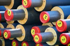 District heating - insulated pipes. District heating is a system for distributing heat generated in a centralized location for residential and commercial heating stock photo