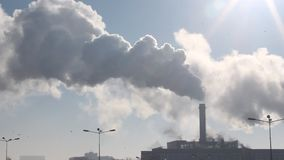 District heating power plant - hot steam in the cold air stock footage