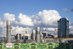District heating station in the background of a stormy sky Royalty Free Stock Photography