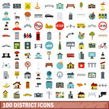 100 district icons set, flat style. 100 district icons set in flat style for any design vector illustration Stock Photos