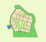 District map. Town scheme, district map, the river and greenery Royalty Free Stock Photo