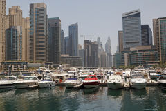 District Marina in Dubai at morning Stock Photos