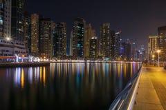 District Marina in Dubai at night Royalty Free Stock Photo