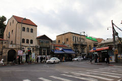 District of old houses of Early 20th century near Mahane Yehuda Market . Jerusalem Stock Photo