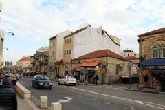 District of old houses of Early 20th century near Mahane Yehuda Market . Jerusalem Royalty Free Stock Images