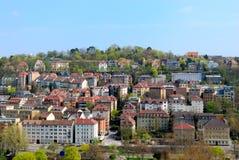 District op de heuvel in Stuttgart, Panorama Royalty-vrije Stock Foto