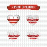 District van Colombia Inzameling van vier vectorharten met vlag Hartsilhouet vector illustratie