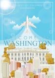 District van de affiche van Colombia De reisillustratie van de V.S. De kaart van de Verenigde Staten van Amerika De banner van Wa royalty-vrije illustratie