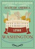 District van de affiche van Colombia De reisillustratie van de V.S. De kaart van de Verenigde Staten van Amerika Retro affiche va stock illustratie