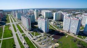District van de stad met nieuwe gebouwen stock afbeeldingen