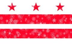 District van de wintersneeuwvlokken van van Colombia, Washington de vlagachtergrond De Verenigde Staten van Amerika stock illustratie