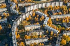 District van Riga, plavnieki Mening van hierboven Luchtlandschap nn stock fotografie