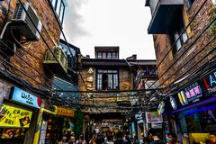 District 4 van Shanghai Tianzifang stock afbeelding