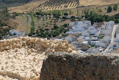 District of white houses in Antequera in Spain. Photo made in houses of Antequera in Spain. In the photo, made from above you see some nice homes in a small Stock Photo