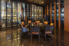 The District Wine Shop and Restaurant at Bangkok Marriott.Hotel stock image