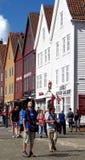 Districto de Bryggen en Bergen, Noruega Foto de archivo