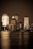 Districto financiero de Manhattan en la puesta del sol de Jersey Fotografía de archivo libre de regalías