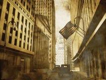 Districto financiero retro de Manhattan stock de ilustración