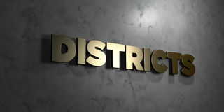 Districts - Gold text on black background - 3D rendered royalty free stock picture Stock Image