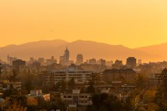 Districts of Las Condes, Providencia and Santiago Centro at sunset, Santiago Stock Photography