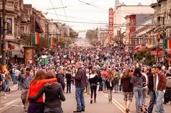 Distrito cantado de Castro durante o evento do orgulho alegre de San Francisco em J imagens de stock royalty free