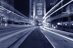 Distrito central de la ciudad de Hong Kong en la noche Imagen de archivo
