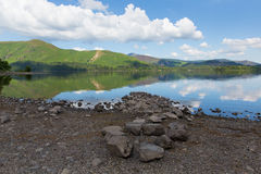 Distrito Cumbria Inglaterra Reino Unido del lago water de Derwent al sur del día de verano soleado tranquilo hermoso del cielo az Fotos de archivo libres de regalías