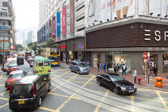 Distrito da compra da baía da calçada em Hong Kong Foto de Stock