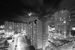 Distrito da noite imagem de stock