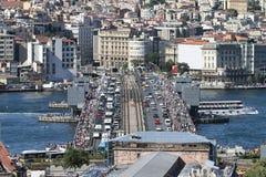 Distrito da ponte e do Karakoy de Galata na cidade de Istambul Fotos de Stock Royalty Free