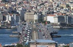 Distrito da ponte e do Karakoy de Galata na cidade de Istambul Imagens de Stock