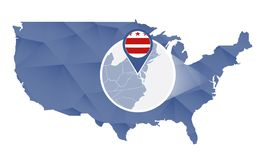 Distrito de Columbia ampliado no mapa do Estados Unidos ilustração royalty free
