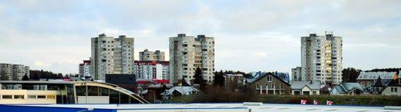 Distrito de Fabijoniskes da cidade de Vilnius no tempo de inverno Imagem de Stock