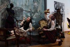 Distrito de fabricantes independentes - projeto de Steampunk - expressões e interpretações imagens de stock royalty free