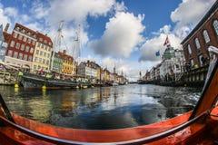 Distrito de Nyhavn em Copenhaga, Dinamarca Foto de Stock Royalty Free