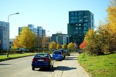 Distrito de Pasilaiciai de la ciudad de Vilna en el tiempo del otoño Foto de archivo libre de regalías