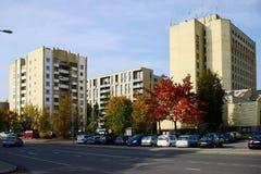 Distrito de Zverynas de la ciudad de Vilna y casas residentian el 9 de octubre de 2014 Imagen de archivo