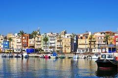 Distrito del EL Serrallo en Tarragona, España fotos de archivo libres de regalías