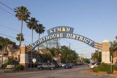 Distrito del faro de Kemah, Tejas Imagen de archivo