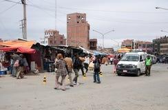 Distrito del transporte de Ceja en El Alto, La Paz, Bolivia Imagenes de archivo