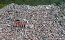Distrito densamente povoado em África do Sul, de cima de fotografia de stock royalty free
