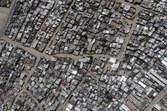 Distrito densamente povoado em África do Sul, de cima de foto de stock