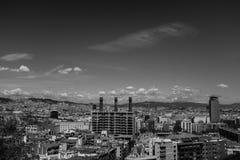 Distrito do centro de Barcelona, cenário urbano preto e branco fotografia de stock