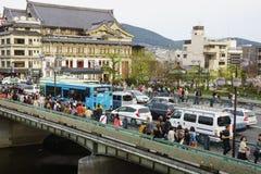 Distrito do entretenimento do beira-rio em Kyoto, Japão Fotografia de Stock