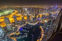 Distrito do porto de Dubai de um telhado Dubai, UAE - 28/OCT/2016 imagens de stock