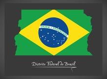 Distrito Federacyjny robi Brasil mapie z Brazylijską flaga państowowa Zdjęcie Stock