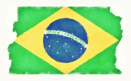 Distrito Federal do Brasil watercolor map with Brazilian nationa. L flag in front of a white background illustration Royalty Free Stock Photos